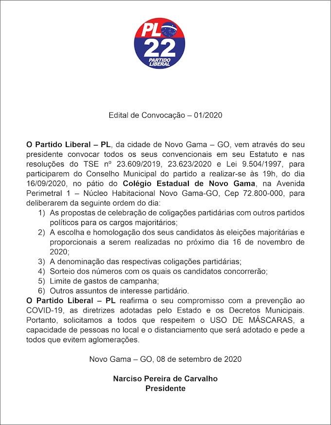 Edital de Convocação - 01/2020 - Partido PL/Novo Gama