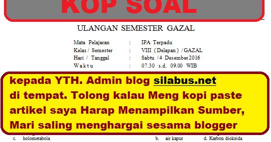 Soal Ipa Kelas 8 Semester 1 Dan Kunci Jawaban Kurikulum 2013 Pilihan Ganda Amp Essay Info Guru