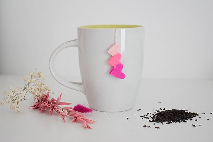 diy sachet de thé coeur feutrine
