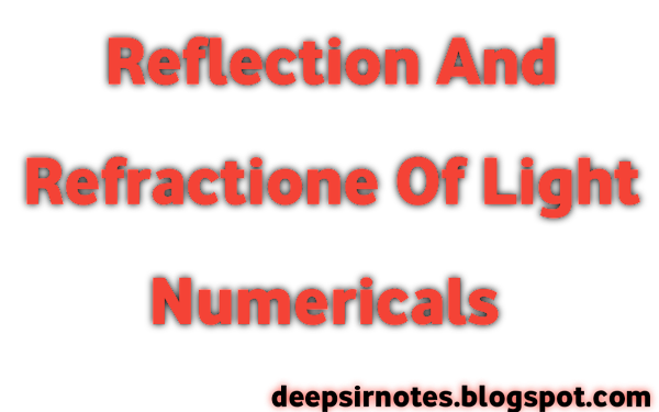 Reflection and Refraction Of Light Numericals. प्रकाश परावर्तन तथा अपवर्तन Numericals.