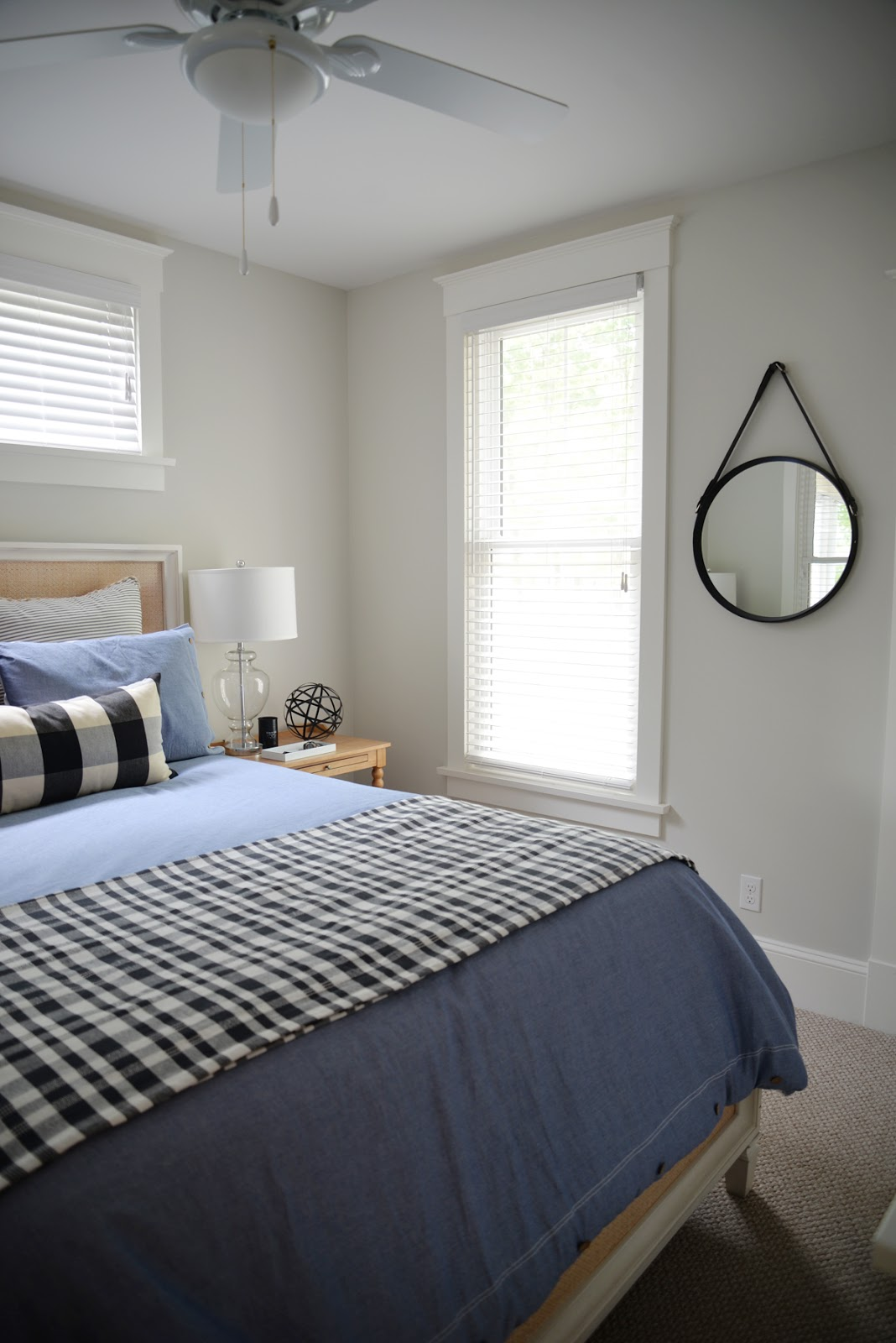 buffalo check, modern country bedroom, round mirror with leather strap | Ramblingrenovators.ca