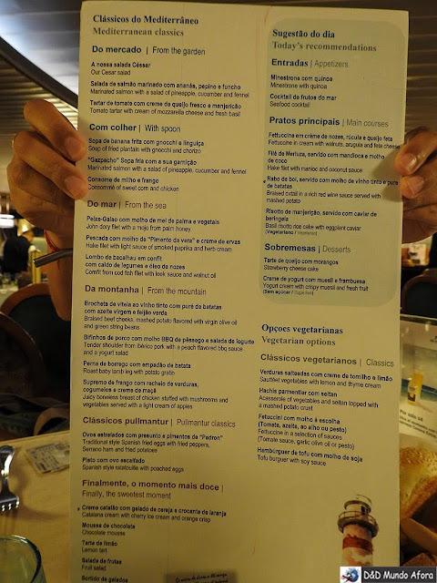Menu do restaurante Mediterrâneo no navio - Diário de Bordo: cruzeiro pelo Caribe