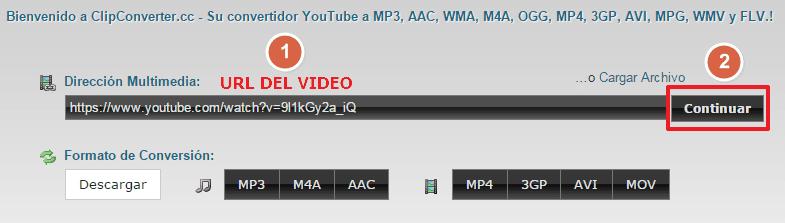 URL del video a bajar