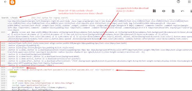 cara mudah membuat tombol download dan demo di blog keren