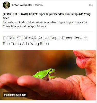 Banyak orang tidak baca snippet Pengetahuan Yang Didapat Dari Menerbitkan Artikel Super Pendek
