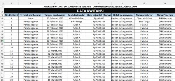 sheet (lembar) input data transaksi pada aplikasi kwitansi excel otomatis terbaru dokumensekolahdasar.blogspot.com