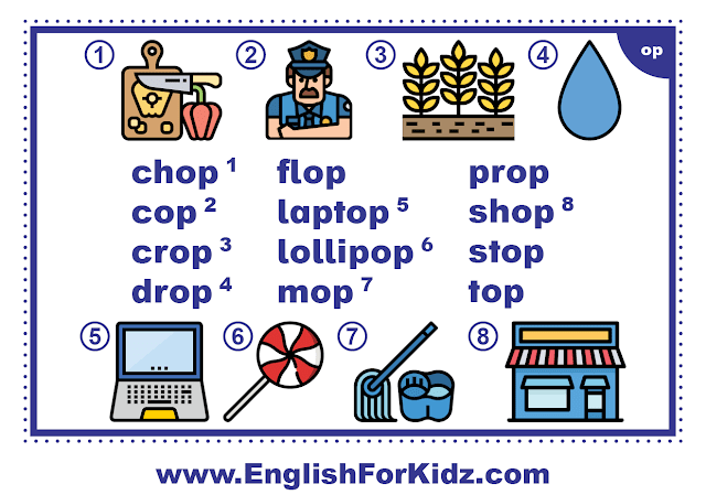 op family words - printable flashcard with pictures