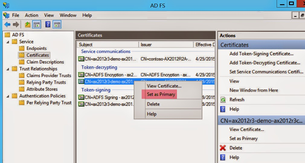 Dynamics AX 2012 R3 Mobile Apps Configuration Using Self-Signed