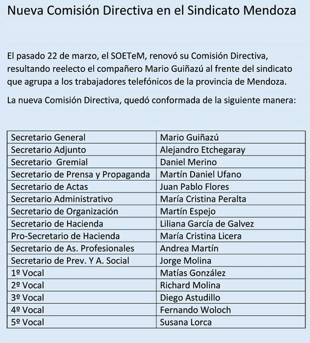 Telefónicos: SOETeM: Sindicato de Mendoza, Nueva comisión directiva