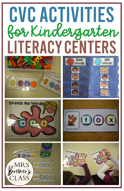 CVC literacy activities for sounding out words and the practice of spelling CVC words in centers and word work stations for Kindergarten and First Grade