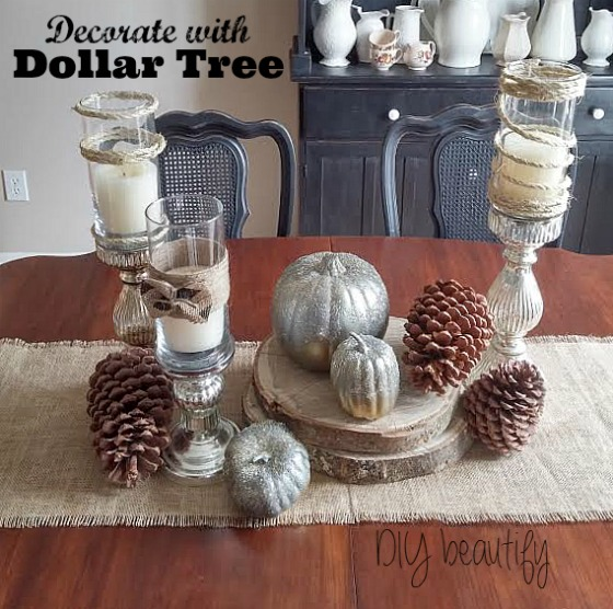 Easy tablescape using items from Dollar Tree at www.diybeautify.com