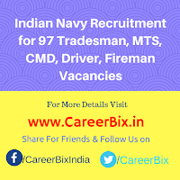 Indian Navy Recruitment for 97 Tradesman, MTS, CMD, Driver, Fireman Vacancies