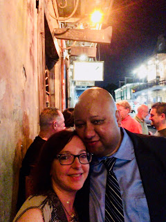 The author and her husband, standing in front of Preservation Hall in New Orleans
