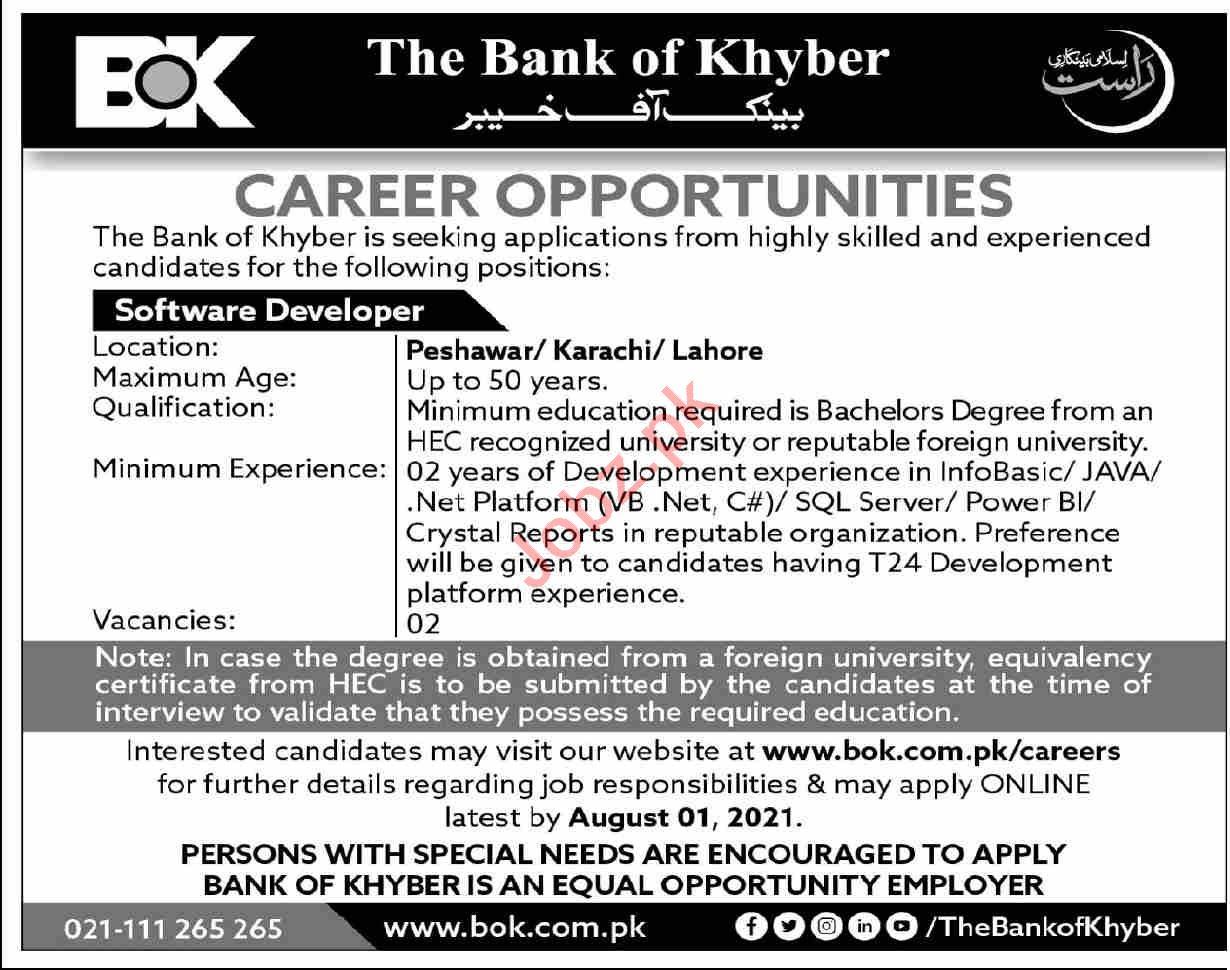 The Bank of Khyber BOK Jobs 2021 for Software Developer