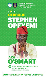 """Unilorin Student Union P.R.O Aspirant, O'Smart's Manifesto Titled """"SMART INFORMATION For All Unilorites"""" (See Details)"""