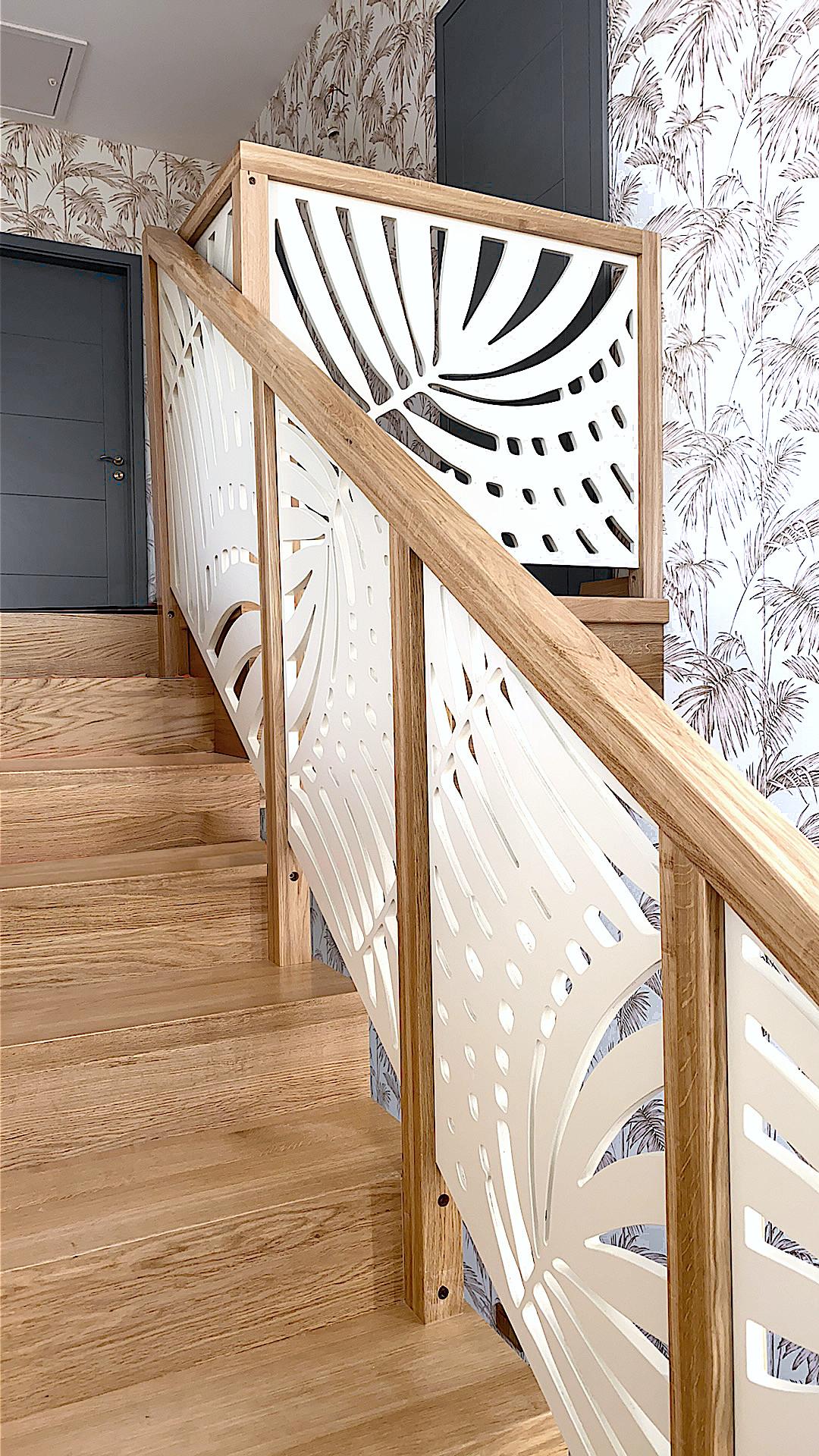 Schodowa balustrada ozdobna schody drewniane frezowanie cnc Gdańsk