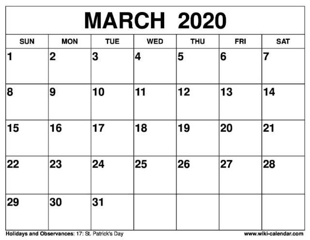 Calendario de marzo 2020 minimalista