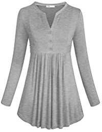 Buy Women's Long Sleeve Split V Neck Casual Tunic Tops