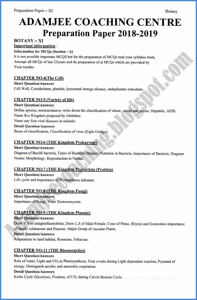 Adamjee Coaching: Botany 11th - Adamjee Coaching Guess Paper