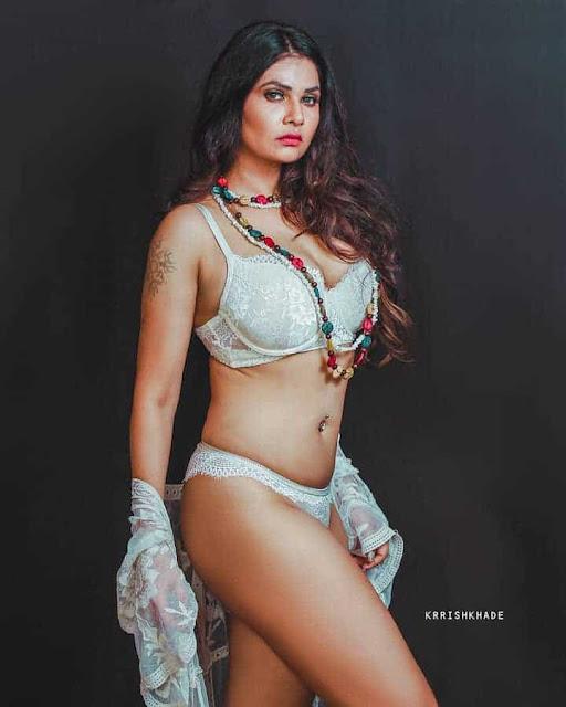 Aabha Paul wearing White Bikini