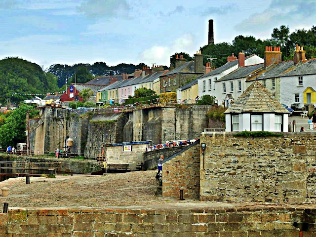 Cottages and harbour walls at Charlestown, Cornwall