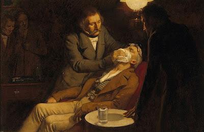 Uso del éter como anestésico en 1846 por el cirujano dental WTG Morton