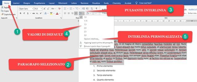 modificare interlinea in word