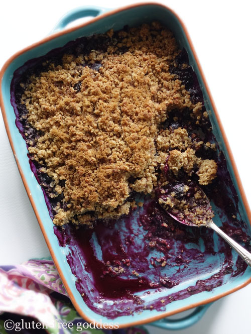 Gluten-free blueberry crisp- and more recipes from Karina, Gluten-Free Goddess.