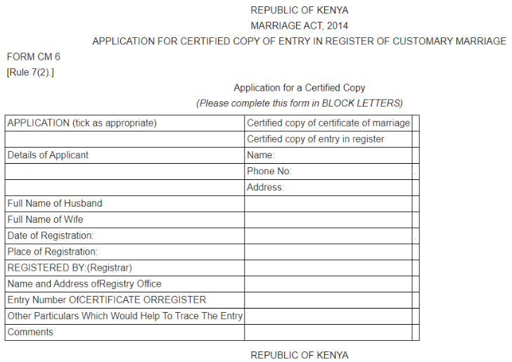 Online Application for a Certified Copy of a Marriage Certificate in Kenya