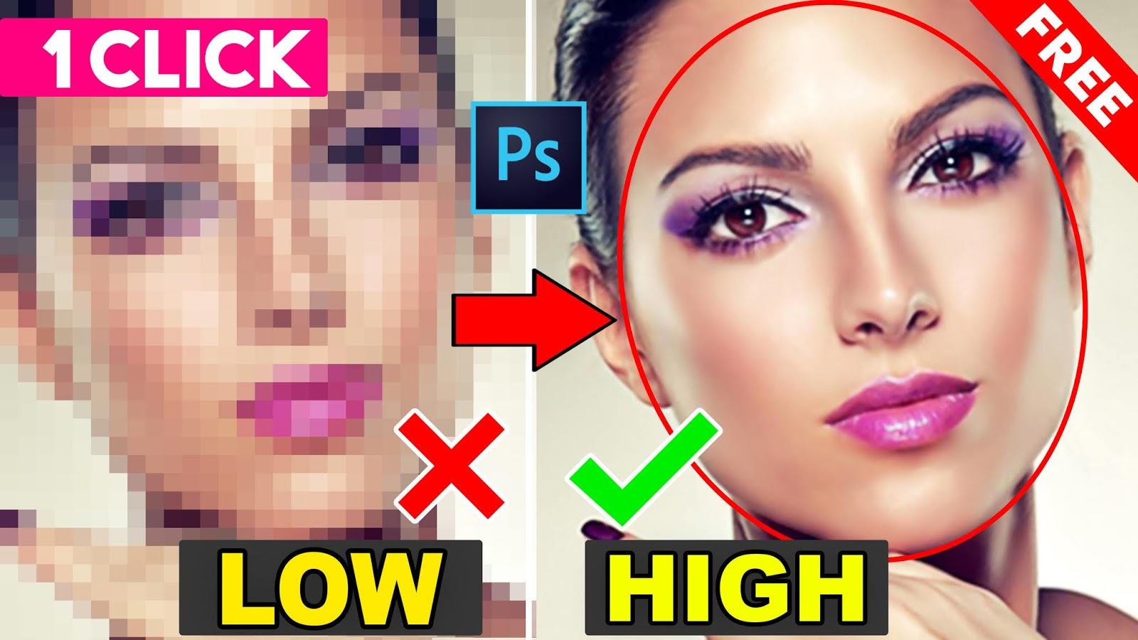 1 click convert into high quality photo in photoshop