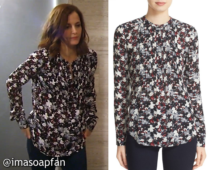 Hayden Barnes, Rebecca Budig, Black, White, and Red Floral Silk Blouse, Veronica Beard, GH, General Hospital