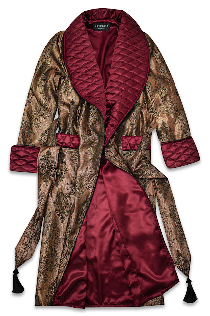 mens silk dressing gown robe quilted burgundy gold paisley smoking jacket lounging robe