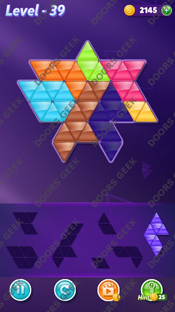 Block! Triangle Puzzle 7 Mania Level 39 Solution, Cheats, Walkthrough for Android, iPhone, iPad and iPod