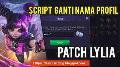 Download Script Ganti Nama/ Nickname Profil Mobile Legends Secara Gratis