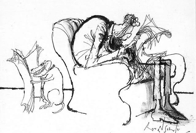Ronald Searle, a man and his dog, each reading their newspaper