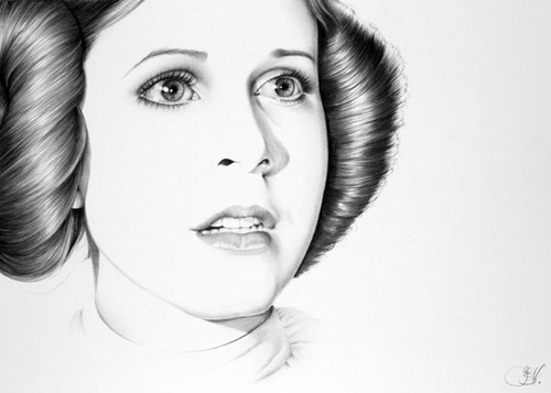 03-Carrie-Fisher-Princess-Leia-Organa-Star-Wars-Ileana-Hunter-Celebrity-Black-and-White-Stylish-Drawing-Portraits-www-designstack-co