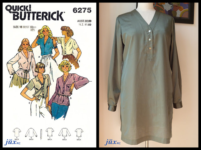 Butterick 6275 (circa 1978) and the first version D - sage green cotton/silk