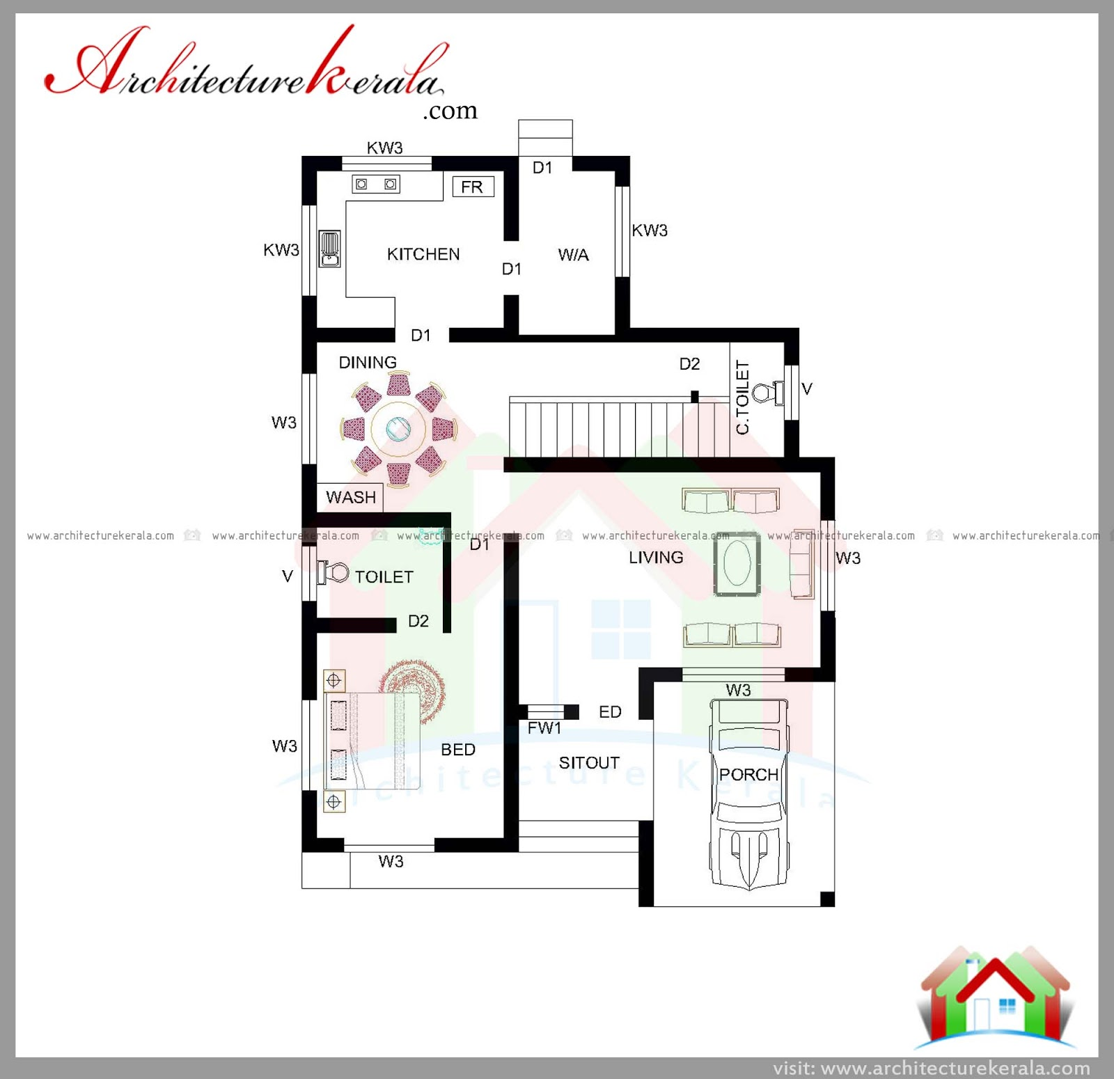 Kerala Home Design February 2016: 1800 SQUARE FEET HOUSE PLAN AND ELEVATION