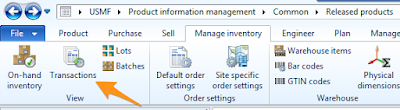 View of the Transactions button to view Inventory Transactions in AX