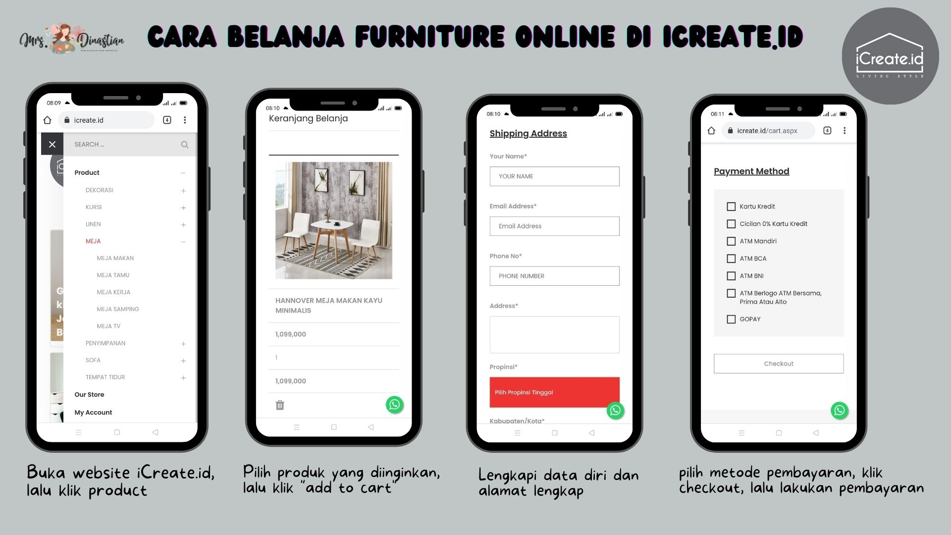 Cara Order Furniture di iCreate.id