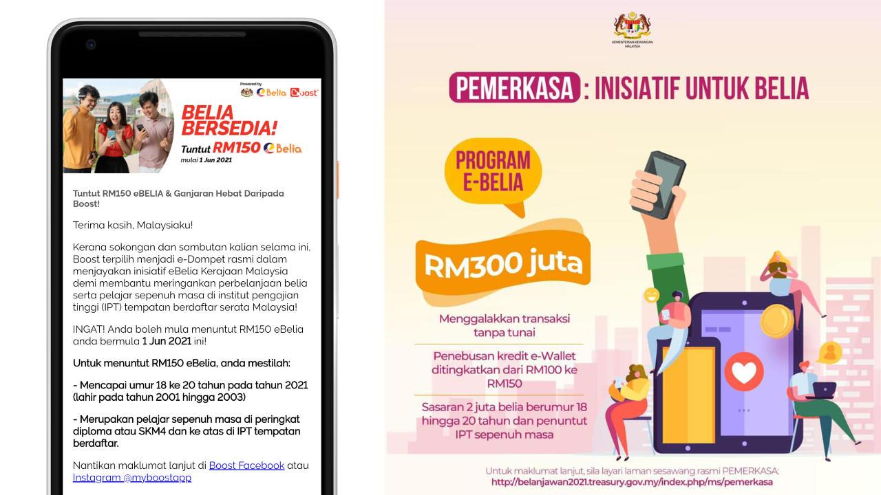 Penebusan e-Tunai RM150 Melalu Program eBelia Boleh Dibuat Bermula 1 Jun Ini