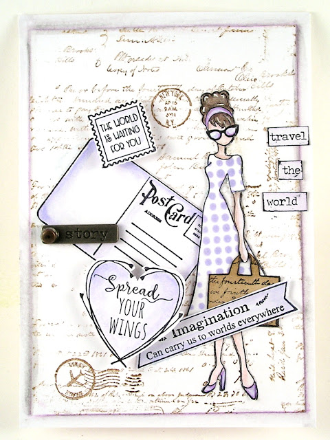 Prima Marketing Julie Nutting Travel Girl  Ranger Distress Ink Shaded Lilac  For the Funkie Junkie Boutique