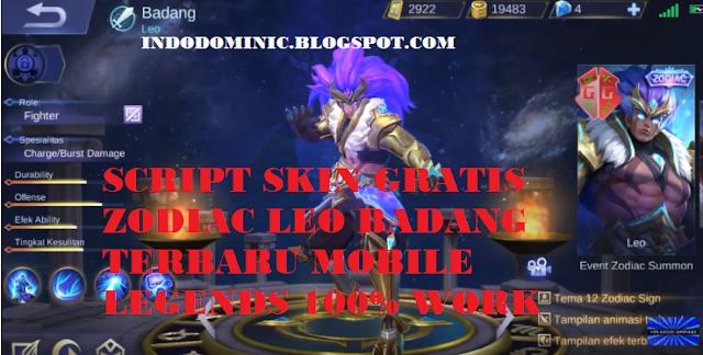 Script Gratis Skin Zodiac Leo Badang Mobile Legends Terbaru