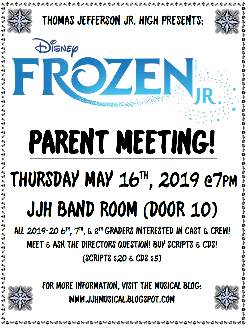 JJH Musical: Next Year's Musical is     FROZEN JR !