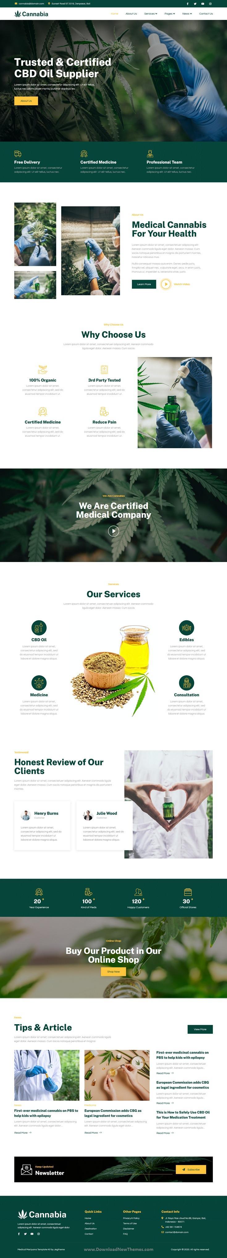 Medical Marijuana & CBD Oil Elementor Template Kit
