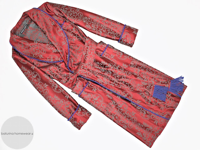 mens luxury paisley cotton dressing gown red robe smoking jacket english gentleman