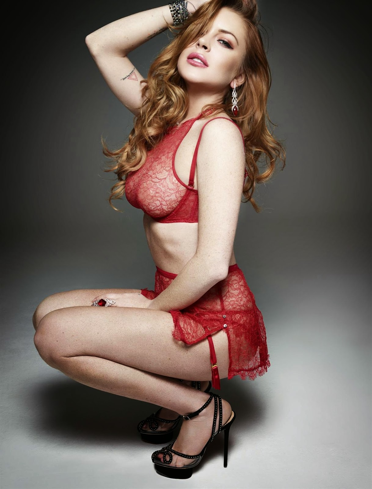 Lindsay Lohan wears leather and lingerie for Homme Style Spring/Summer 2015