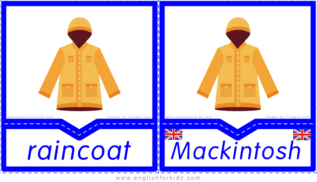 Raincoat vs. Mackintosh - English clothes and accessories flashcards for ESL students