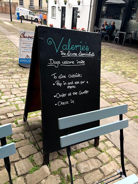 An A frame sign for Valerie's Cafe