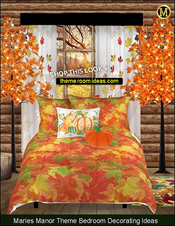 autumn leaves bedding  fall bedding  woodland bedroom